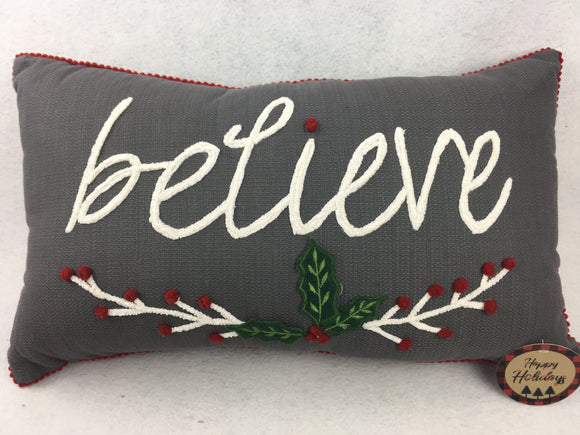 Christmas Believe with Holly Leaves Pillow