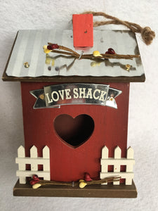 Valentine Love Shack Wood and Metal House Block Sitter or Ornament