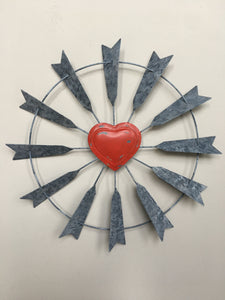 Valentine Heart Windmill Metal Wall Hanging