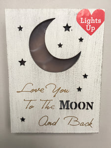 Valentine Love You To The Moon And Back Light Up Sign or Block Sitter