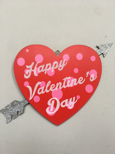 Valentine Happy Valentine's Day Wood Heart With Glittered Arrow Sign