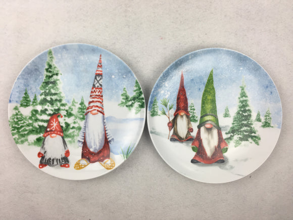 Christmas Gnomes in Winter Scene Ceramic Dinner Plate
