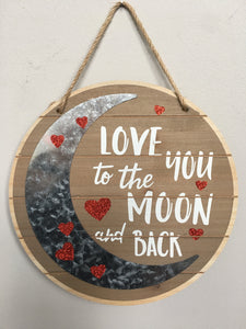 Valentine Love You to the Moon and Back Wall Hanging