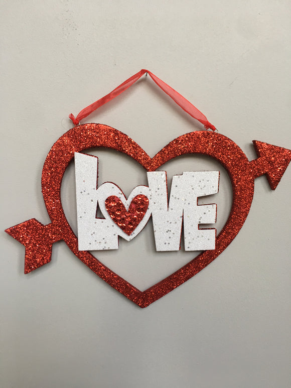 Valentine Love Heart With Arrow Glittered Sign