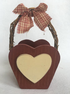 Valentine Heart Shaped Wood Basket