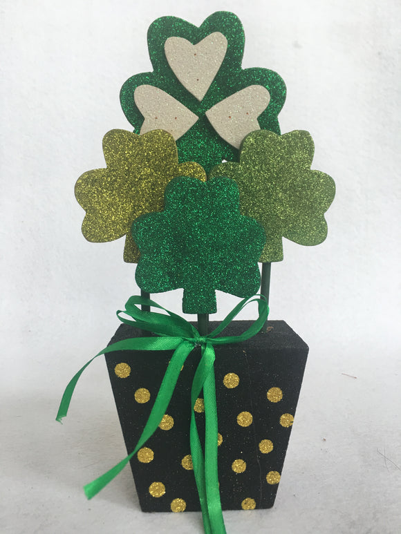 Saint Patrick's Day Potted Shamrock Planter Block Sitter