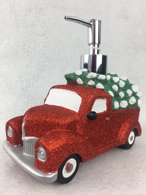 Christmas Glittered Red Truck Carrying Tree Soap or Lotion Dispenser