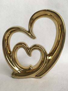 Valentine Large Shiny Gold Ceramic Heart Within a Heart Display