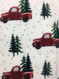 Christmas Red Truck Carrying 2 Trees Flannel to Sherpa Blanket Throw