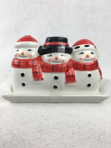 Christmas 3 Snowmen Ceramic Butter Dish