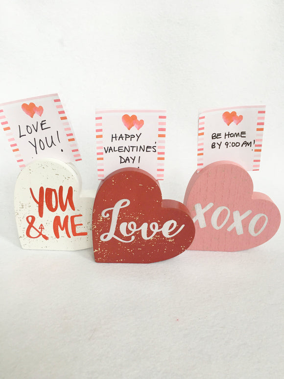 Valentine You and Me, XOXO, or Love Note Holder and Block Sitter