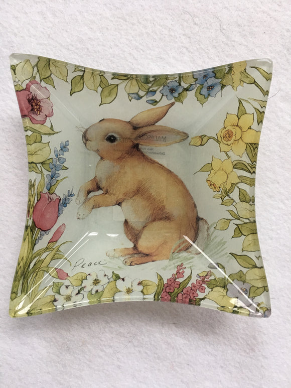 Easter Bunny With Love, Joy, Flowers and Butterfly Glass Candy Dish