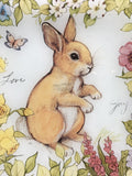 Easter Bunny With Love, Joy, Flowers and Butterfly Glass Plate