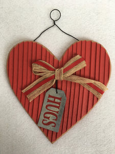 Valentine Heart with Hugs or Love Hanging Tag Wall Hanging