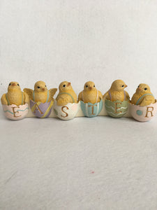 Easter Row of Chicks Sitting in Eggs Display