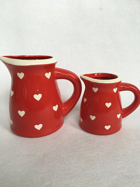 Valentine Ceramic Red With White Hearts Pitcher