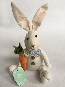 Easter Plush Sitting Rabbit Holding Flower or Carrot