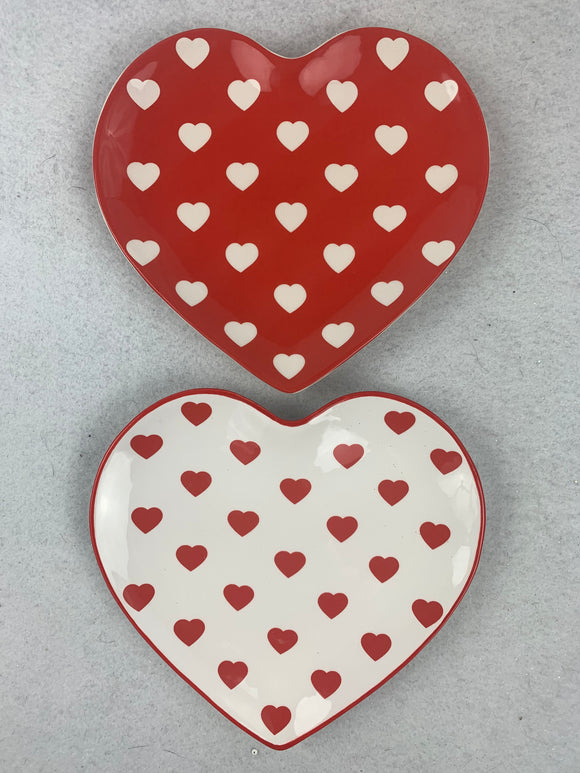 Valentine Red and White Heart Shaped Ironstone Small Dish