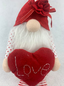 Valentine Plush Gnome Holding Heart or Flowers