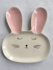 Easter White Bunny Face Ceramic Dish