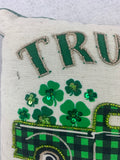 Saint Patrick's Day Truck Filled With Shamrocks Full of Luck Pillow