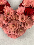 Valentine Wood Curled Red and Pink Flowers Heart Shaped Wreath