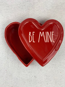 Valentine Be Mine Ceramic Heart Container By Rae Dunn