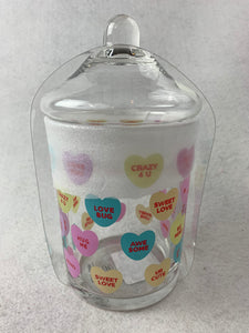 Valentine Candy Hearts Glass Jar