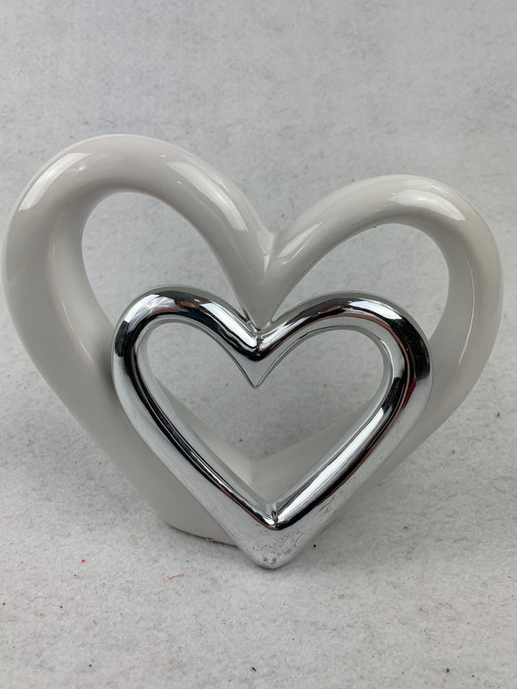 Valentine White and Silver Heart Ceramic Display