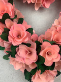 Valentine Wood Curled Pink White or Red Flowers Heart Shaped Wreath