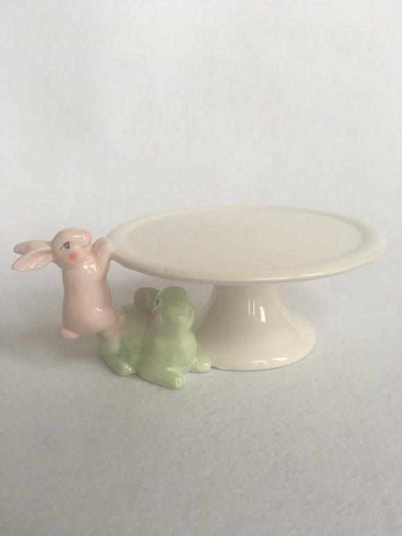 Easter Bunnies Small Raised Serving Platter or Stand