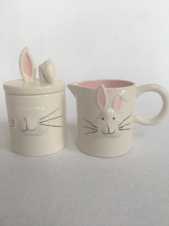 Easter Bunny Face and Ears Ceramic Sugar and Creamer