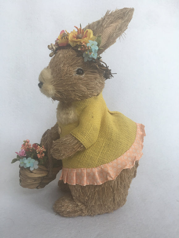 Easter Standing Large Girl Sisal Bunny in Yellow Dress