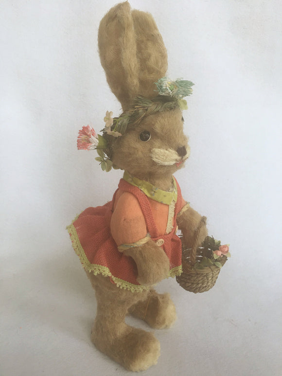 Easter Large Standing Girl Sisal Bunny in Orange Dress