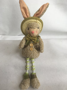 Easter Green and Pink Plush Boy or Girl Bunny With Flexible Legs