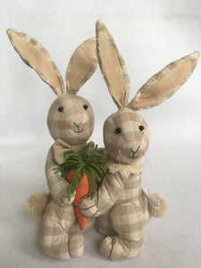 Easter Plush Bunny Couple Holding a Carrot
