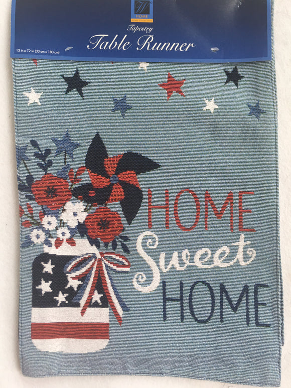 Patriotic Home Sweet Home Table Runner