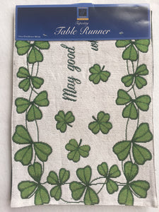 Saint Patrick's Day Shamrocks Tapestry Table Runner