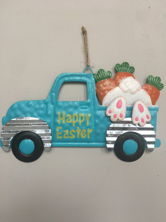 Easter Metal Truck With Bunny Catching A Ride Wall Hanging