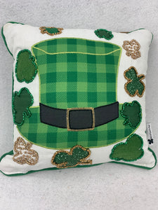 Saint Patrick's Day Leprechaun Hat With Shamrocks Pillow