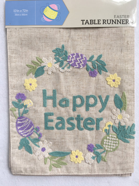 Easter Wreath of Flowers With Happy Easter Table Runner