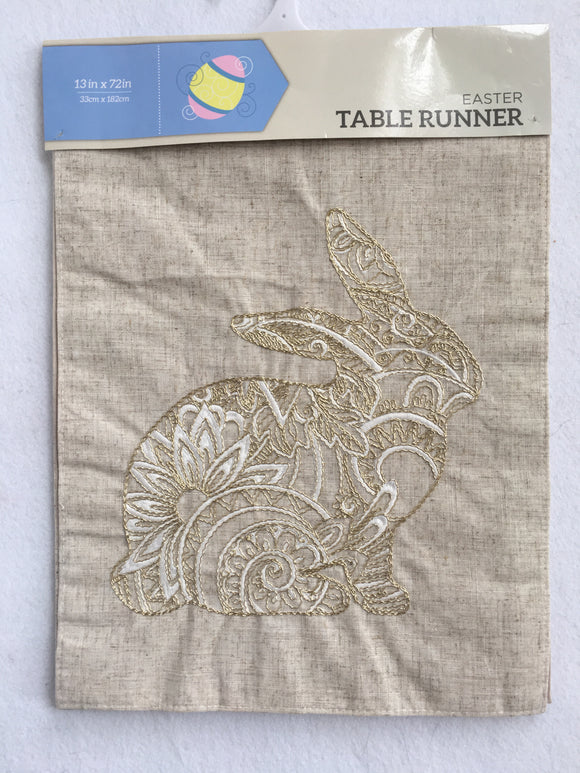 Easter Bunny With Metallic Gold and White Thread Table Runner