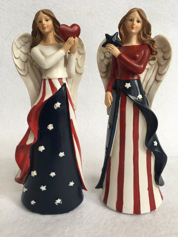 Patriotic Angel Holding Star or Heart Display