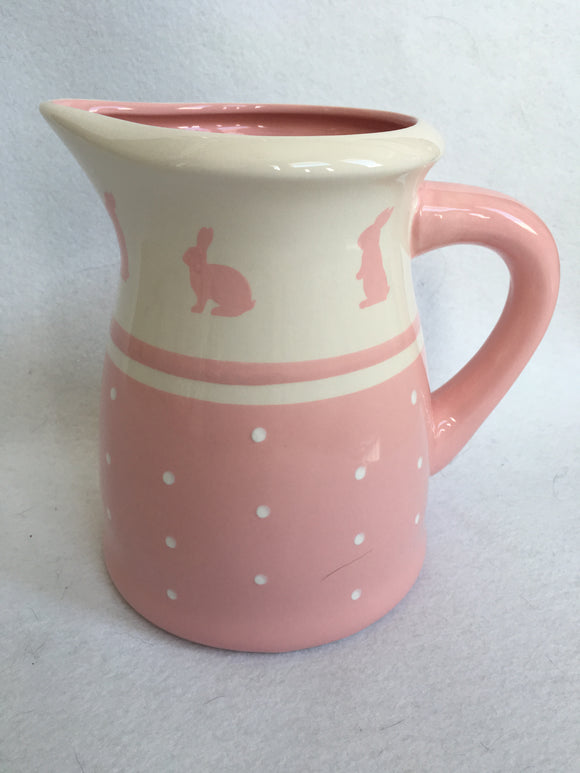 Easter Pink Bunny With Polka Dots Large Ceramic Pitcher