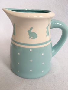 Easter Blue Bunny With Polka Dots Large Ceramic Pitcher