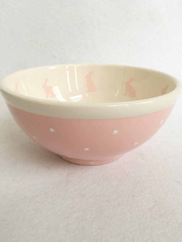 Easter Pink Bunny With Polka Dots Medium Ceramic Bowl