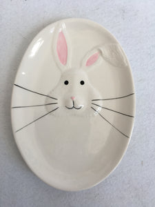 Easter White Bunny Face With One Ear Tilted Ceramic Dish