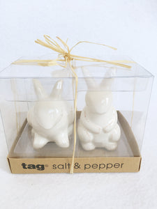 Easter Sitting and Standing White Bunnies Salt and Pepper Shakers