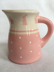 Easter Pink Bunny With Polka Dots Medium Ceramic Pitcher
