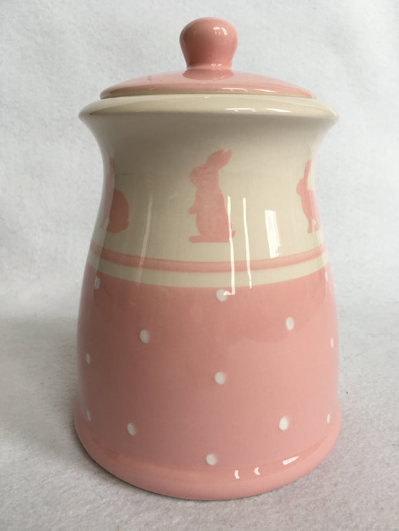 Easter Pink Bunny With Polka Dots Medium Ceramic Cookie Jar